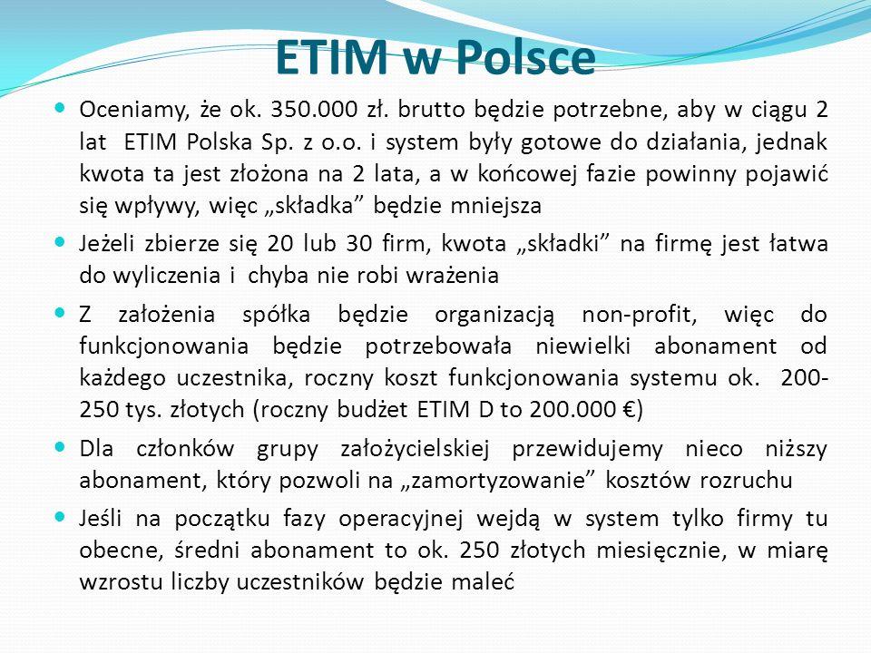 ETIM w Polsce Oceniamy, że ok. 350.000 zł. brutto będzie potrzebne, aby w ciągu 2 lat ETIM Polska Sp. z o.o. i system były gotowe do działania, jednak