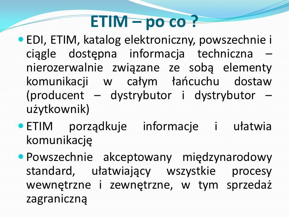 ETIM – po co ? EDI, ETIM, katalog elektroniczny, powszechnie i ciągle dostępna informacja techniczna – nierozerwalnie związane ze sobą elementy komuni