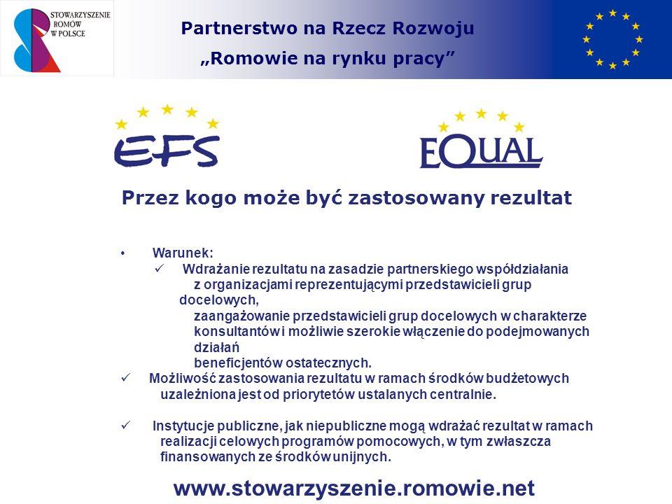 Partnerstwo na Rzecz Rozwoju Romowie na rynku pracy Przez kogo może być zastosowany rezultat Warunek: Wdrażanie rezultatu na zasadzie partnerskiego ws
