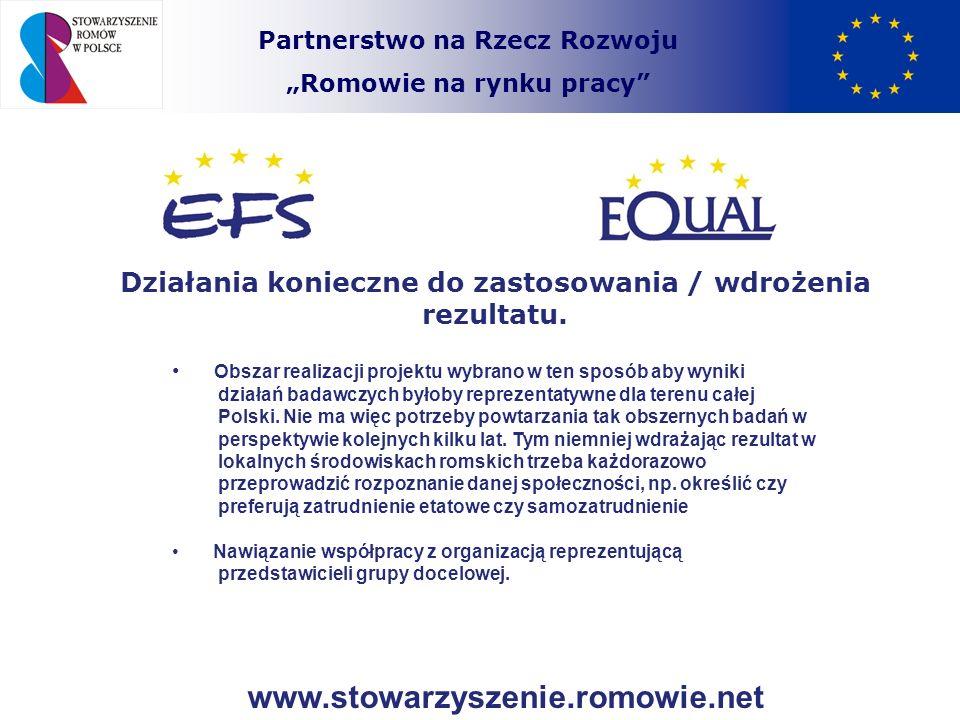 Partnerstwo na Rzecz Rozwoju Romowie na rynku pracy Działania konieczne do zastosowania / wdrożenia rezultatu. Obszar realizacji projektu wybrano w te