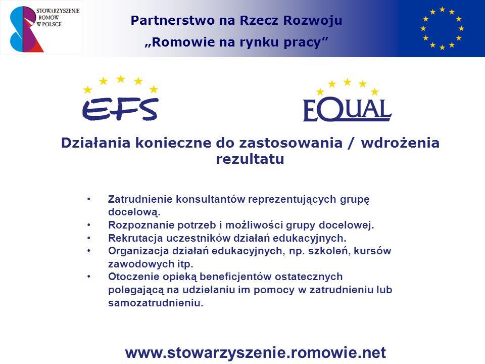 Partnerstwo na Rzecz Rozwoju Romowie na rynku pracy Działania konieczne do zastosowania / wdrożenia rezultatu Zatrudnienie konsultantów reprezentujący