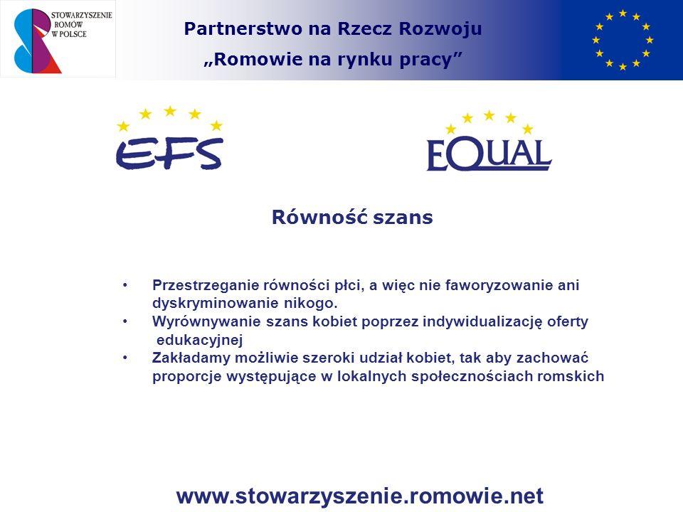 Partnerstwo na Rzecz Rozwoju Romowie na rynku pracy Równość szans Przestrzeganie równości płci, a więc nie faworyzowanie ani dyskryminowanie nikogo. W