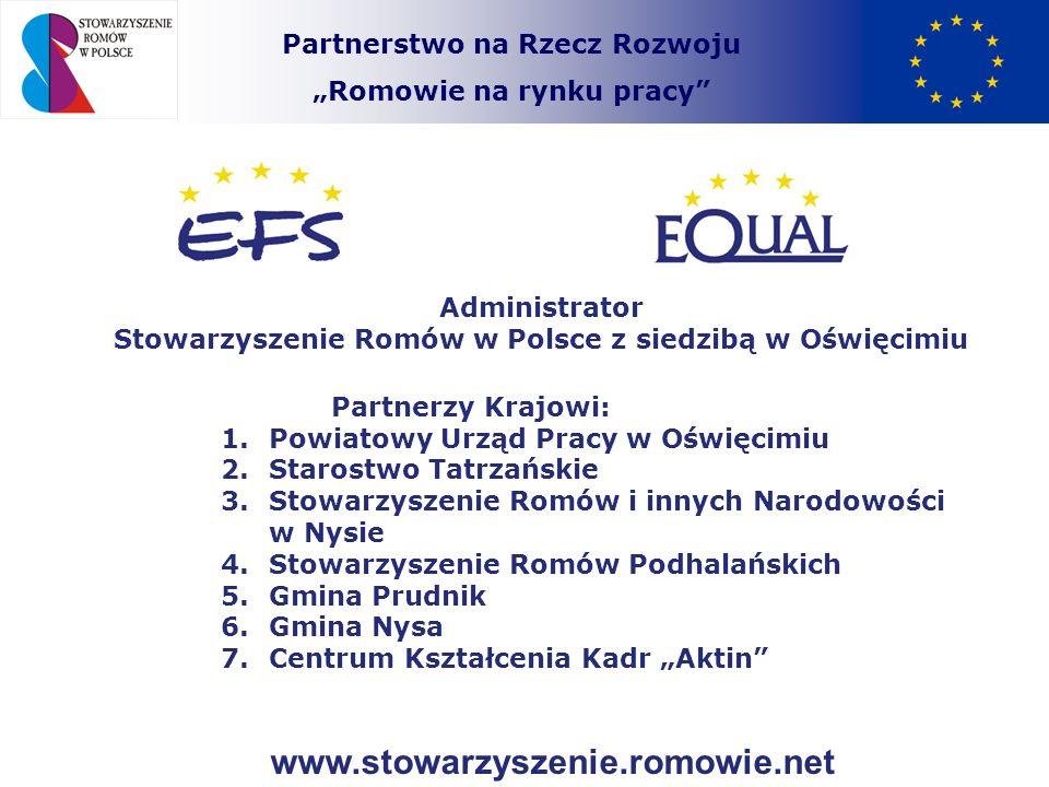 Partnerstwo na Rzecz Rozwoju Romowie na rynku pracy Administrator Stowarzyszenie Romów w Polsce z siedzibą w Oświęcimiu Partnerzy Krajowi: 1. Powiatow