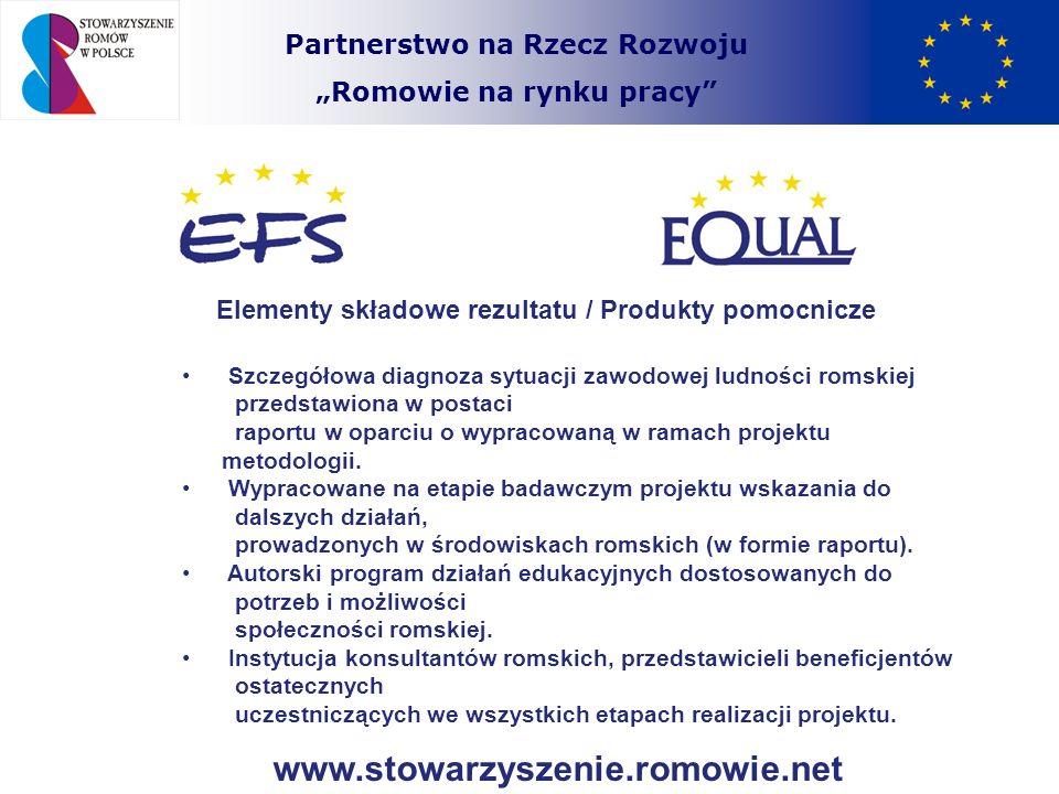 Partnerstwo na Rzecz Rozwoju Romowie na rynku pracy Elementy składowe rezultatu / Produkty pomocnicze Romskie Pośrednictwo Pracy i Romska Agencja Artystyczna instytucje wyspecjalizowane w rozwiązywaniu problemów zawodowych ludności romskiej funkcjonujące w ścisłej współpracy z lokalnymi środowiskami romskimi, w tym organizacjami romskimi.