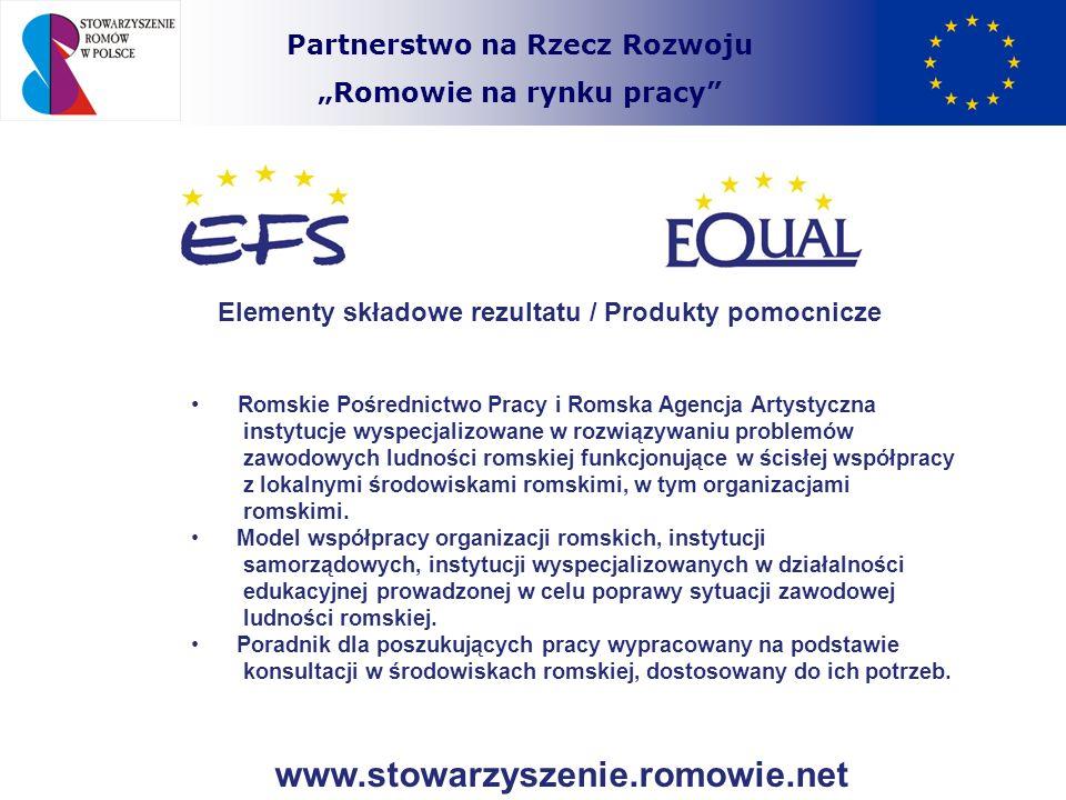 Partnerstwo na Rzecz Rozwoju Romowie na rynku pracy Elementy składowe rezultatu / Produkty pomocnicze Romskie Pośrednictwo Pracy i Romska Agencja Arty