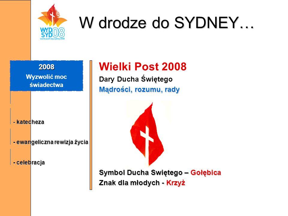 W drodze do SYDNEY… Wielki Post 2008 Dary Ducha Świętego Mądrości, rozumu, rady Symbol Ducha Świętego – Gołębica Znak dla młodych - Krzyż 2008 Wyzwoli