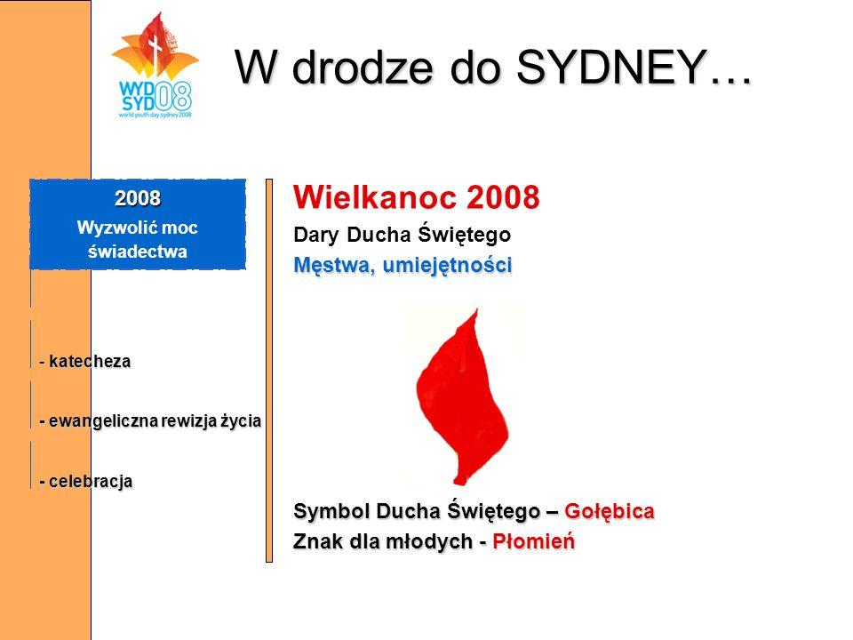 W drodze do SYDNEY… Wielkanoc 2008 Dary Ducha Świętego Męstwa, umiejętności Symbol Ducha Świętego – Gołębica Znak dla młodych - Płomień 2008 Wyzwolić