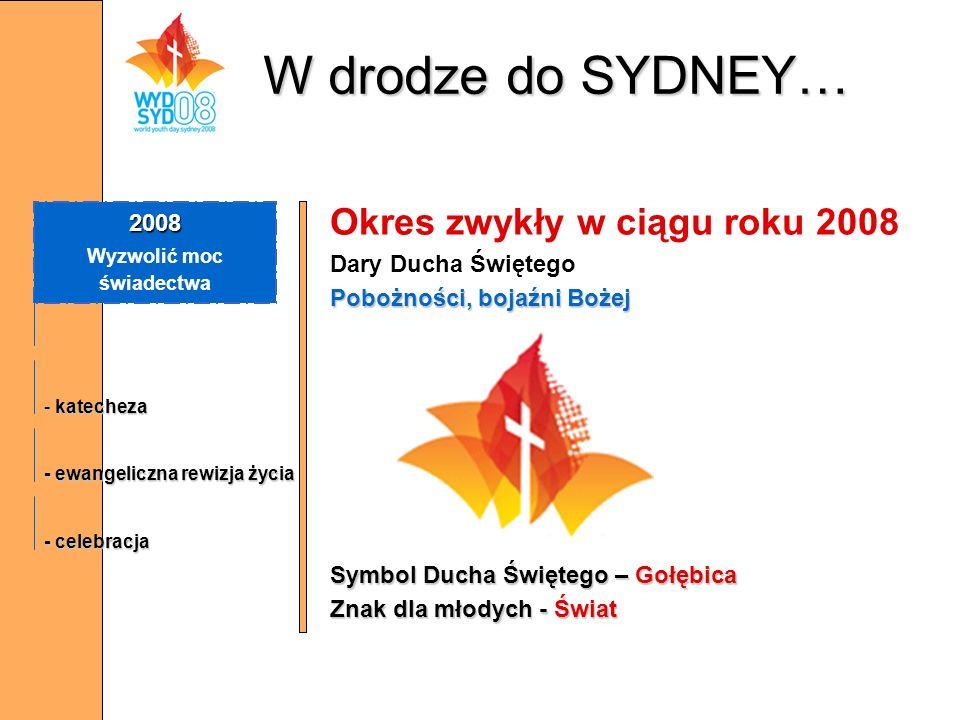 W drodze do SYDNEY… Okres zwykły w ciągu roku 2008 Dary Ducha Świętego Pobożności, bojaźni Bożej Symbol Ducha Świętego – Gołębica Znak dla młodych - Ś