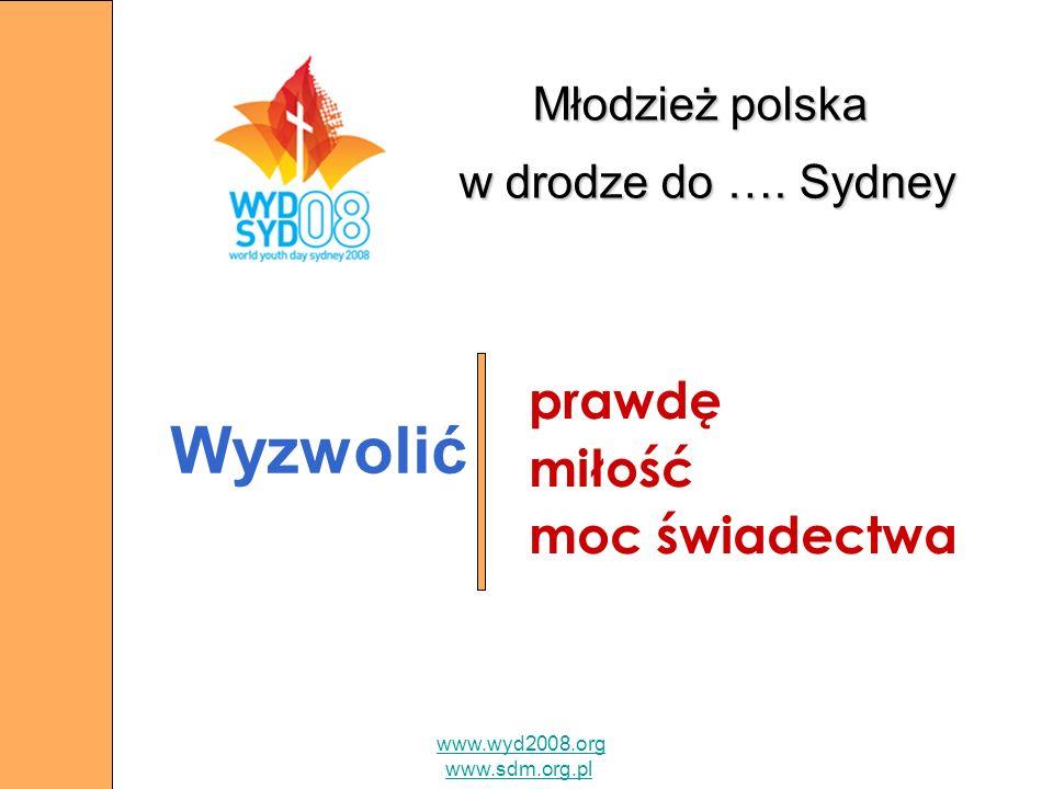 Młodzież polska w drodze do …. Sydney prawdę miłość moc świadectwa www.wyd2008.org www.sdm.org.pl Wyzwolić