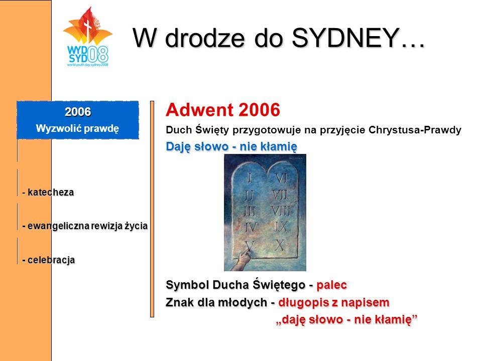 Adwent 2006 Duch Święty przygotowuje na przyjęcie Chrystusa-Prawdy Daję słowo - nie kłamię Symbol Ducha Świętego - palec Znak dla młodych - długopis z