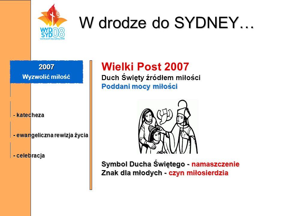 W drodze do SYDNEY… 2007 Wyzwolić miłość - katecheza - ewangeliczna rewizja życia - celebracja Wielki Post 2007 Duch Święty źródłem miłości Poddani mo