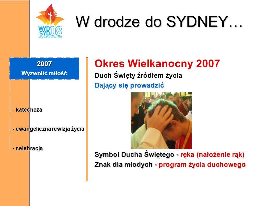W drodze do SYDNEY… Okres Wielkanocny 2007 Duch Święty źródłem życia Dający się prowadzić Symbol Ducha Świętego - ręka (nałożenie rąk) Znak dla młodyc