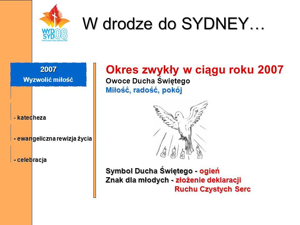 W drodze do SYDNEY… 2007 Wyzwolić miłość - katecheza - ewangeliczna rewizja życia - celebracja Okres zwykły w ciągu roku 2007 Owoce Ducha Świętego Mił