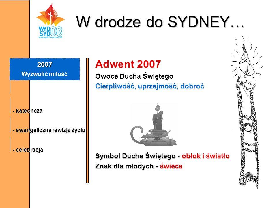 W drodze do SYDNEY… Adwent 2007 Owoce Ducha Świętego Cierpliwość, uprzejmość, dobroć Symbol Ducha Świętego - obłok i światło Znak dla młodych - świeca