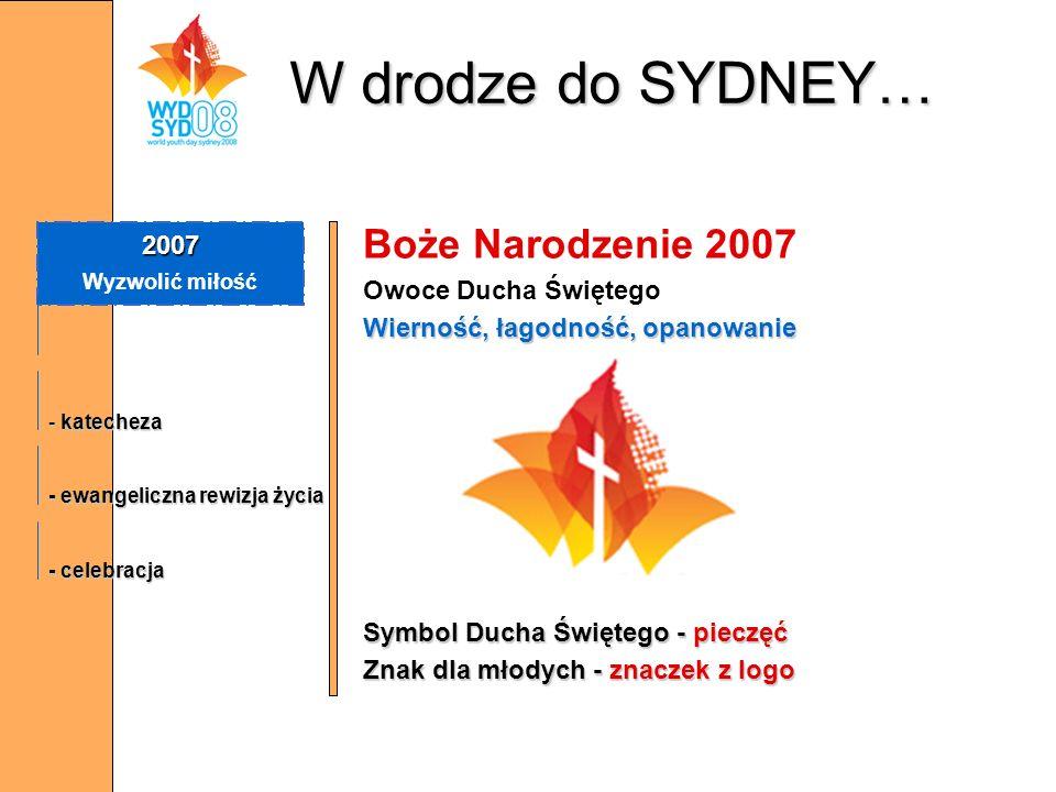 W drodze do SYDNEY… Boże Narodzenie 2007 Owoce Ducha Świętego Wierność, łagodność, opanowanie Symbol Ducha Świętego - pieczęć Znak dla młodych - znacz