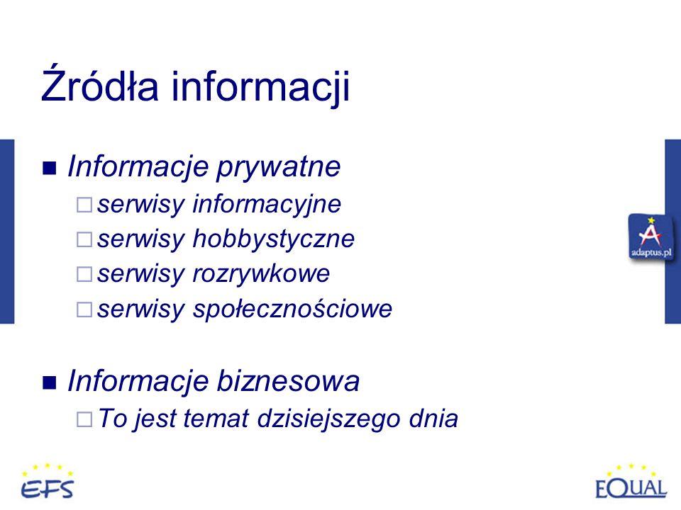 Źródła informacji Informacje prywatne serwisy informacyjne serwisy hobbystyczne serwisy rozrywkowe serwisy społecznościowe Informacje biznesowa To jes