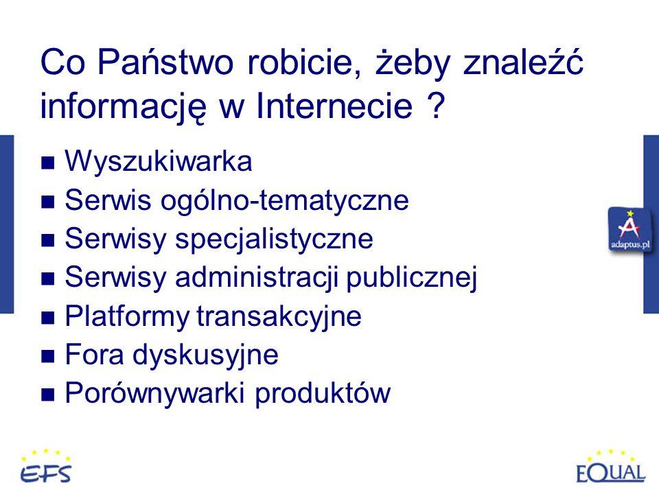 Co Państwo robicie, żeby znaleźć informację w Internecie ? Wyszukiwarka Serwis ogólno-tematyczne Serwisy specjalistyczne Serwisy administracji publicz