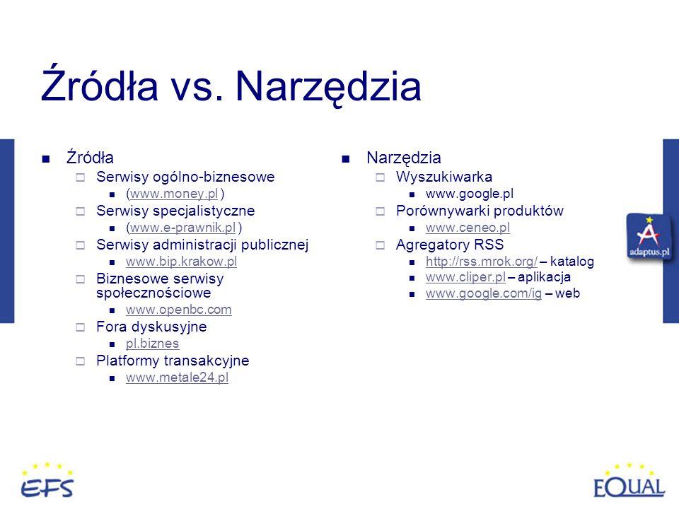 Źródła vs. Narzędzia Źródła Serwisy ogólno-biznesowe (www.money.pl )www.money.pl Serwisy specjalistyczne (www.e-prawnik.pl )www.e-prawnik.pl Serwisy a