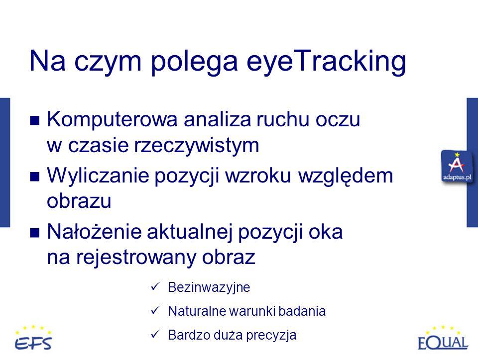 Na czym polega eyeTracking Komputerowa analiza ruchu oczu w czasie rzeczywistym Wyliczanie pozycji wzroku względem obrazu Nałożenie aktualnej pozycji