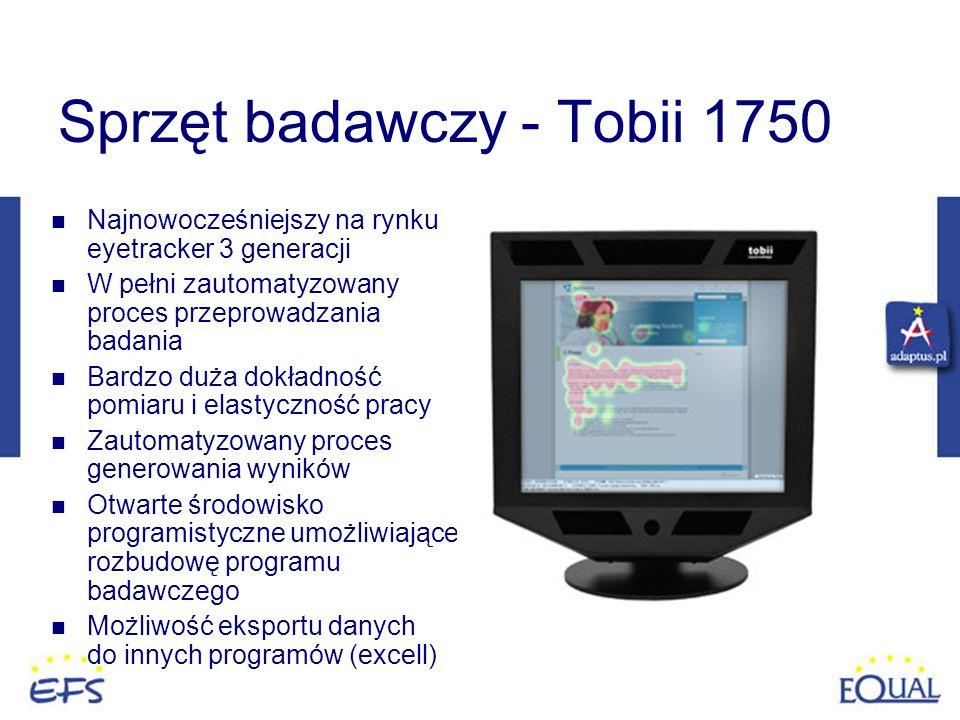 Sprzęt badawczy - Tobii 1750 Najnowocześniejszy na rynku eyetracker 3 generacji W pełni zautomatyzowany proces przeprowadzania badania Bardzo duża dok