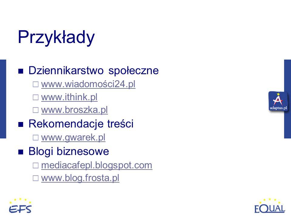 Przykłady Dziennikarstwo społeczne www.wiadomości24.pl www.ithink.pl www.broszka.pl Rekomendacje treści www.gwarek.pl Blogi biznesowe mediacafepl.blog