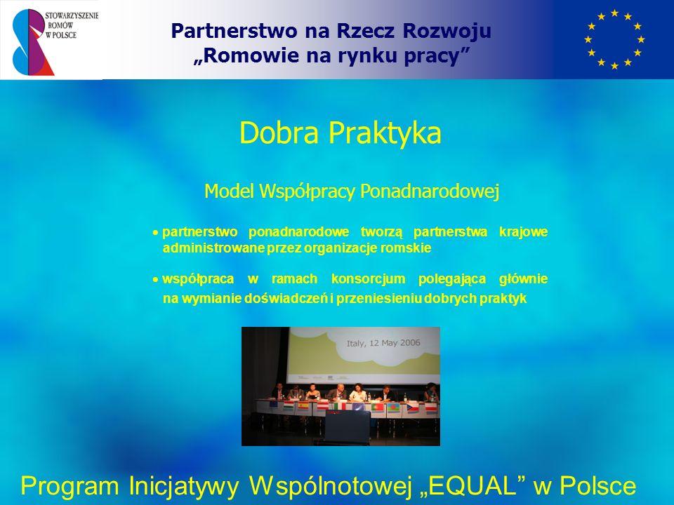 Dobra Praktyka Partnerstwo na Rzecz Rozwoju Romowie na rynku pracy Program Inicjatywy Wspólnotowej EQUAL w Polsce Model Współpracy Ponadnarodowej partnerstwo ponadnarodowe tworzą partnerstwa krajowe administrowane przez organizacje romskie współpraca w ramach konsorcjum polegająca głównie na wymianie doświadczeń i przeniesieniu dobrych praktyk