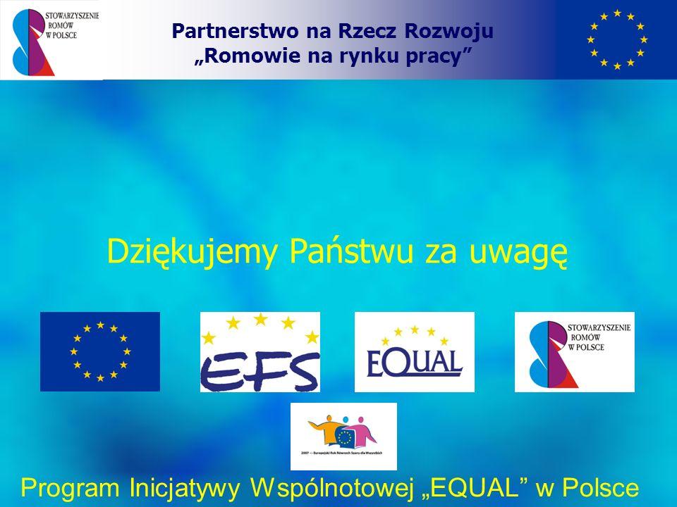 Dziękujemy Państwu za uwagę Partnerstwo na Rzecz Rozwoju Romowie na rynku pracy Program Inicjatywy Wspólnotowej EQUAL w Polsce