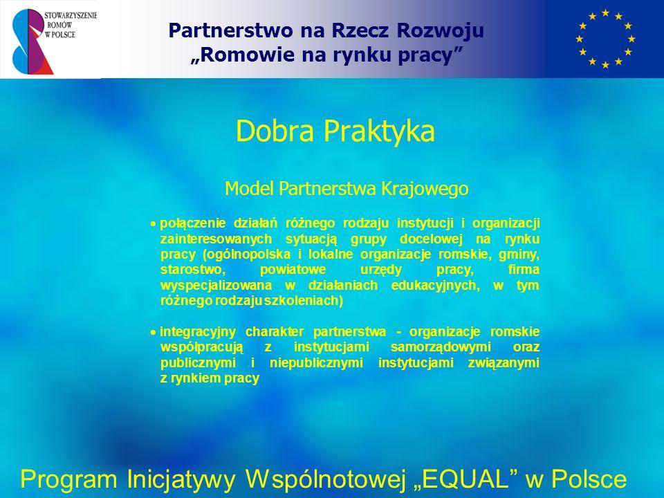 Dobra Praktyka Partnerstwo na Rzecz Rozwoju Romowie na rynku pracy Program Inicjatywy Wspólnotowej EQUAL w Polsce Model Partnerstwa Krajowego połączenie działań różnego rodzaju instytucji i organizacji zainteresowanych sytuacją grupy docelowej na rynku pracy (ogólnopolska i lokalne organizacje romskie, gminy, starostwo, powiatowe urzędy pracy, firma wyspecjalizowana w działaniach edukacyjnych, w tym różnego rodzaju szkoleniach) integracyjny charakter partnerstwa - organizacje romskie współpracują z instytucjami samorządowymi oraz publicznymi i niepublicznymi instytucjami związanymi z rynkiem pracy