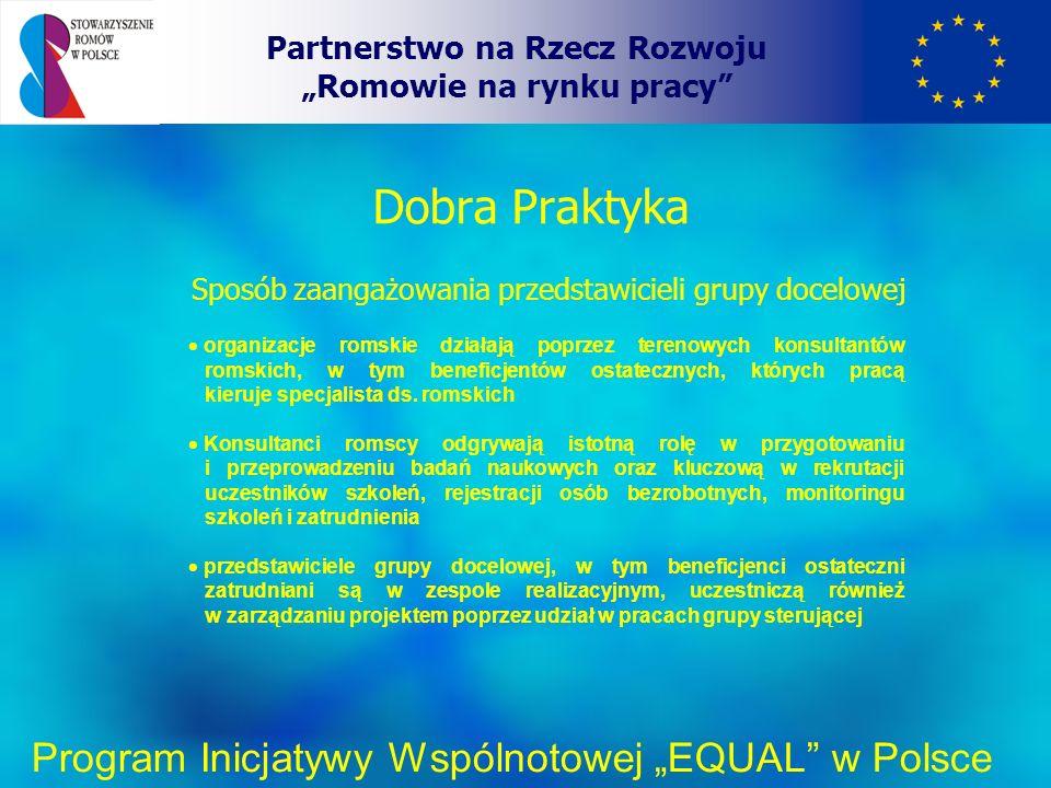Dobra Praktyka Partnerstwo na Rzecz Rozwoju Romowie na rynku pracy Program Inicjatywy Wspólnotowej EQUAL w Polsce Sposób zaangażowania przedstawicieli grupy docelowej organizacje romskie działają poprzez terenowych konsultantów romskich, w tym beneficjentów ostatecznych, których pracą kieruje specjalista ds.
