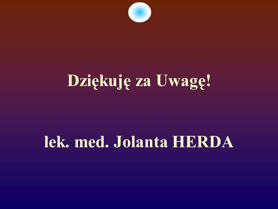 Dziękuję za Uwagę! lek. med. Jolanta HERDA