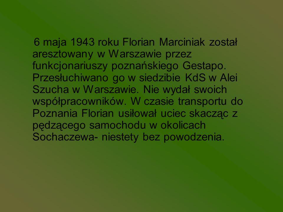 6 maja 1943 roku Florian Marciniak został aresztowany w Warszawie przez funkcjonariuszy poznańskiego Gestapo. Przesłuchiwano go w siedzibie KdS w Alei