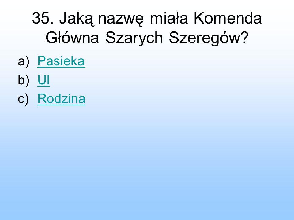 35. Jaką nazwę miała Komenda Główna Szarych Szeregów? a)PasiekaPasieka b)UlUl c)RodzinaRodzina