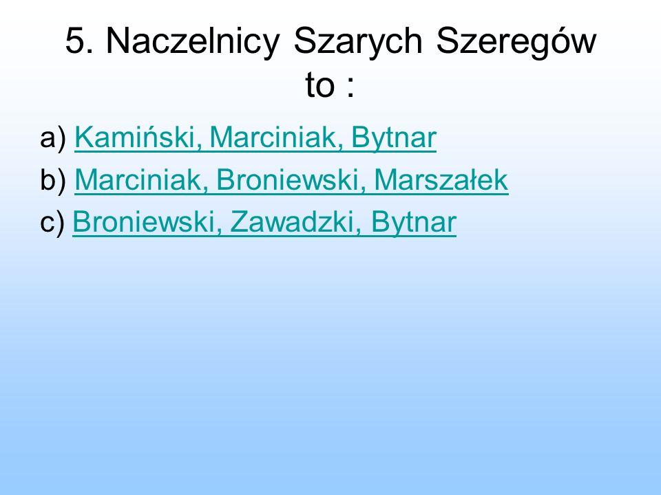 5. Naczelnicy Szarych Szeregów to : a) Kamiński, Marciniak, BytnarKamiński, Marciniak, Bytnar b) Marciniak, Broniewski, MarszałekMarciniak, Broniewski