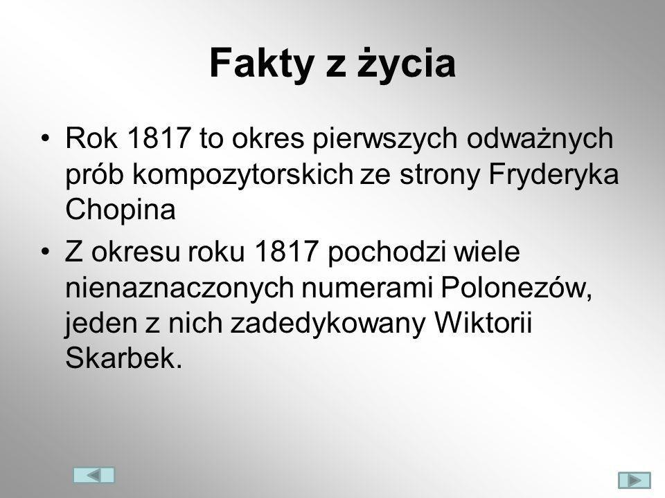 Fakty z życia Rok 1817 to okres pierwszych odważnych prób kompozytorskich ze strony Fryderyka Chopina Z okresu roku 1817 pochodzi wiele nienaznaczonyc