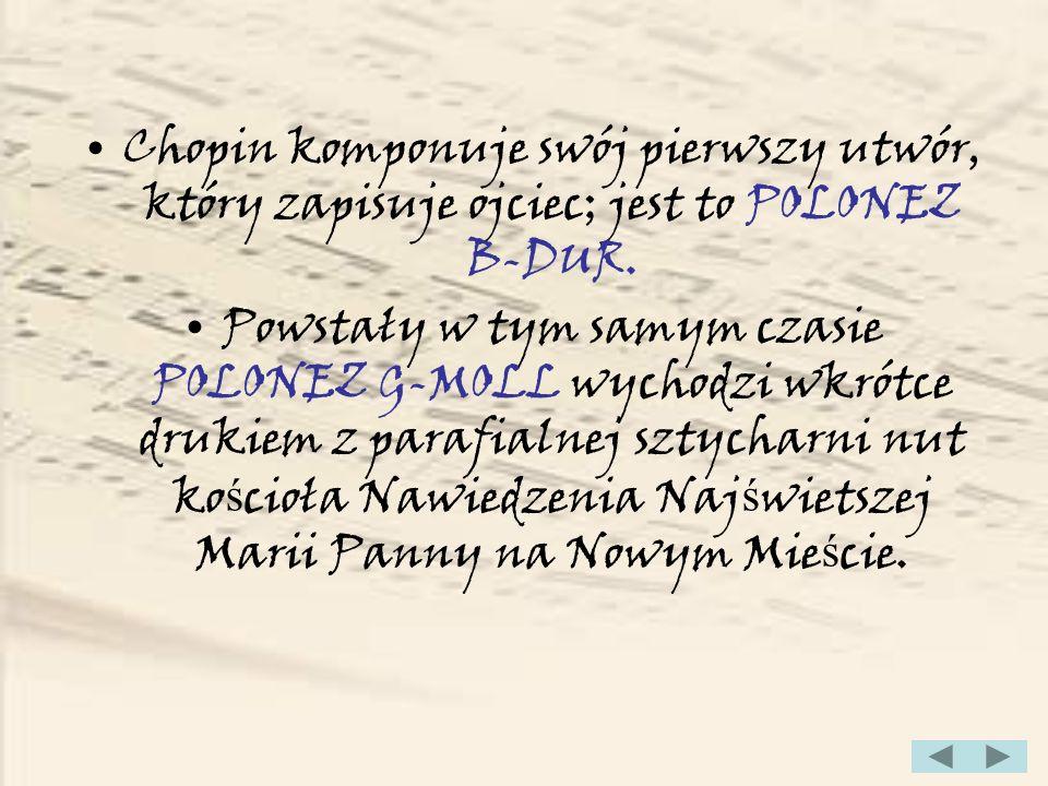 1822 (Fryderyk ma 12 lat) Koniec lekcji u Wojciecha Ż ywnego, Chopin rozpoczyna nauk ę kompozycji u Józefa Elsnera i gry na organach u Wilhelma Würfla.