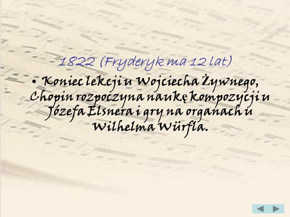 1830 (Fryderyk ma 20 lat) Powstaje KONCERT F-MOLL OP.