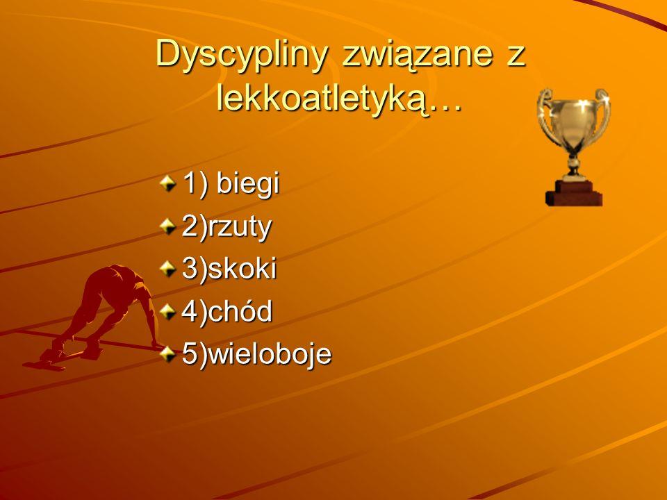 1)Biegi … Na krótkim dystansie, do 400 metrów, inaczej sprinterskie: 60 m, 100 m, 200 m i 400 m Na średnim dystansie, od 600 do 2000 metrów: Na długim dystansie, 3000 m, 3000 m z przeszkodami, 5000 m i 10000 m.