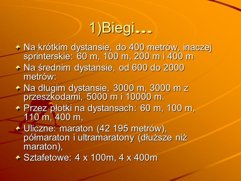 b. sztafetowe b. sprinterskie średni i długi dystans b. przez płotki b. uliczne