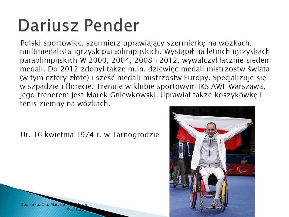 Polski sportowiec, szermierz uprawiający szermierkę na wózkach, multimedalista igrzysk paraolimpijskich. Wystąpił na letnich igrzyskach paraolimpijski