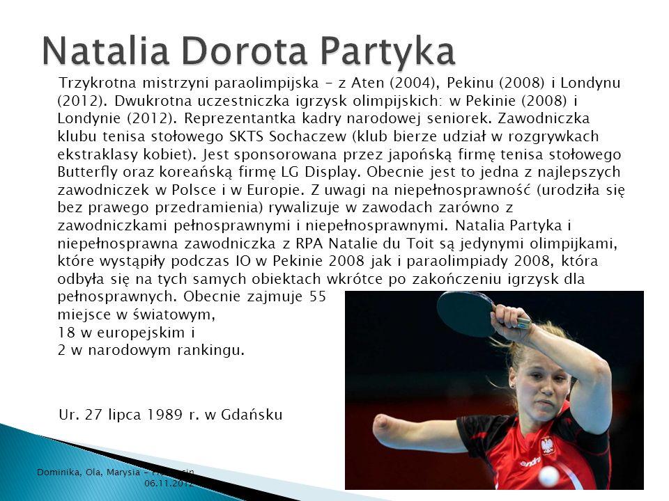Trzykrotna mistrzyni paraolimpijska - z Aten (2004), Pekinu (2008) i Londynu (2012). Dwukrotna uczestniczka igrzysk olimpijskich: w Pekinie (2008) i L