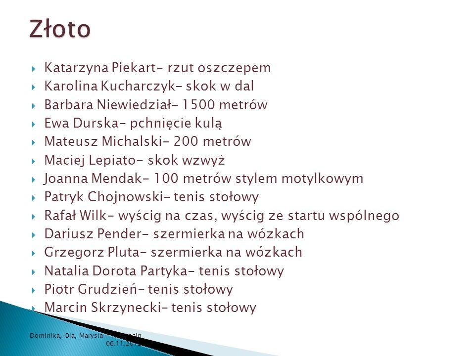 Katarzyna Piekart- rzut oszczepem Karolina Kucharczyk- skok w dal Barbara Niewiedział- 1500 metrów Ewa Durska- pchnięcie kulą Mateusz Michalski- 200 m