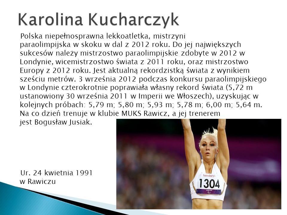 Polska niepełnosprawna lekkoatletka, mistrzyni paraolimpijska w skoku w dal z 2012 roku. Do jej największych sukcesów należy mistrzostwo paraolimpijsk
