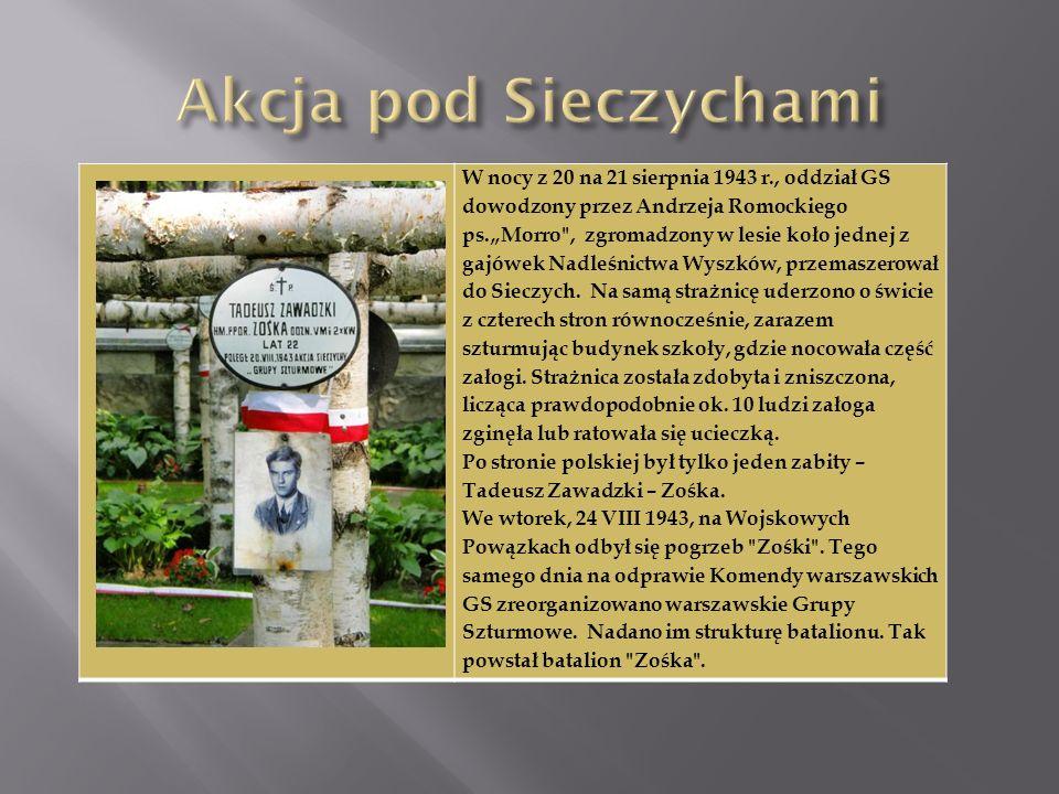 W nocy z 20 na 21 sierpnia 1943 r., oddział GS dowodzony przez Andrzeja Romockiego ps.Morro