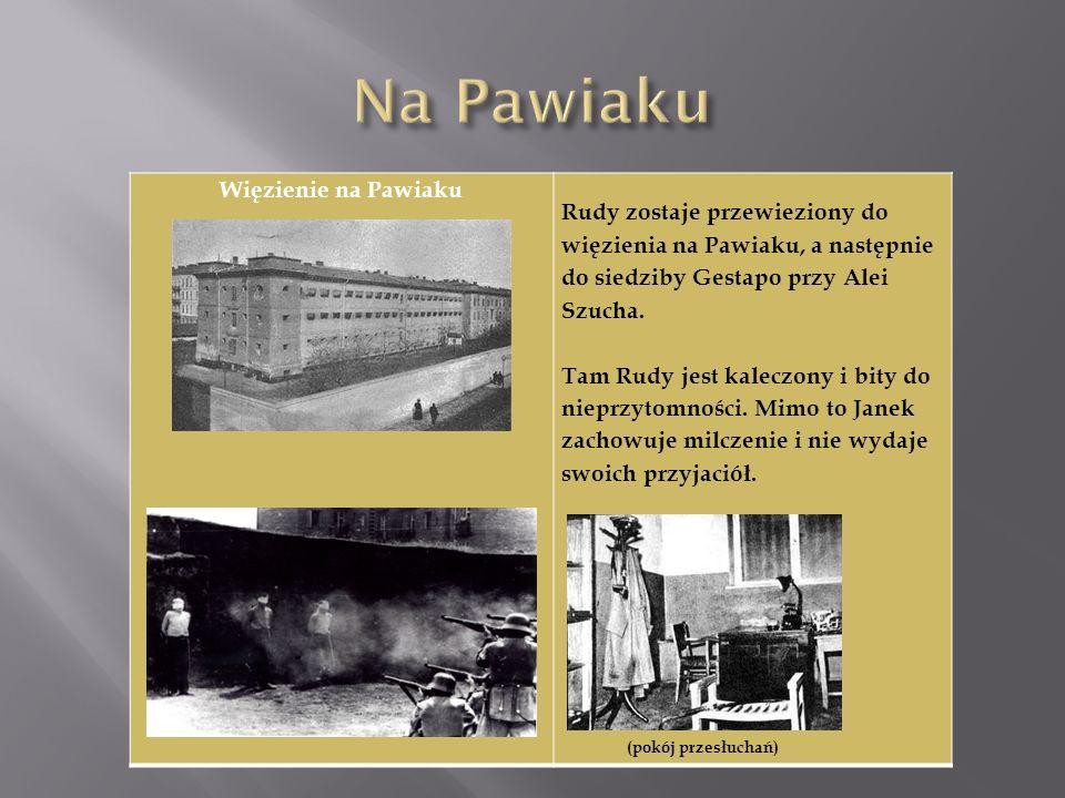 Więzienie na Pawiaku Rudy zostaje przewieziony do więzienia na Pawiaku, a następnie do siedziby Gestapo przy Alei Szucha. Tam Rudy jest kaleczony i bi