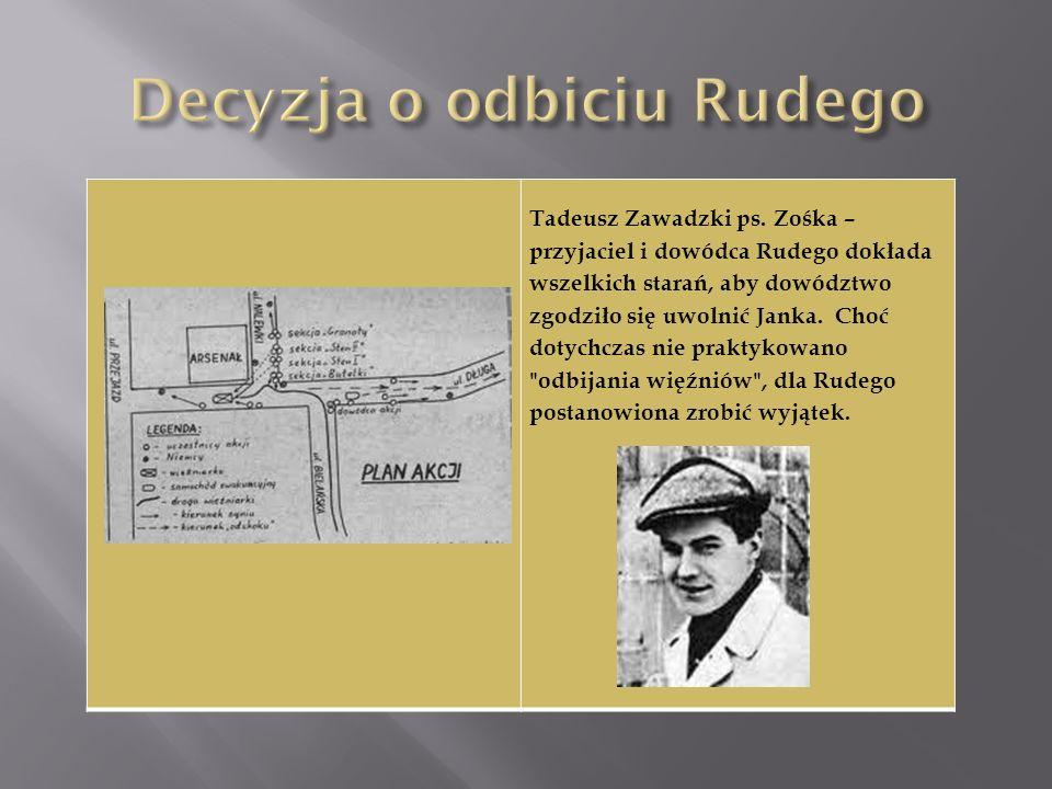 Tadeusz Zawadzki ps. Zośka – przyjaciel i dowódca Rudego dokłada wszelkich starań, aby dowództwo zgodziło się uwolnić Janka. Choć dotychczas nie prakt