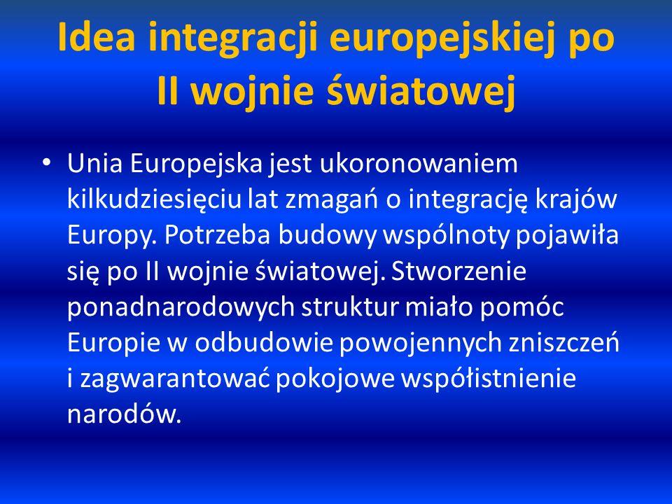 Idea integracji europejskiej po II wojnie światowej Unia Europejska jest ukoronowaniem kilkudziesięciu lat zmagań o integrację krajów Europy. Potrzeba