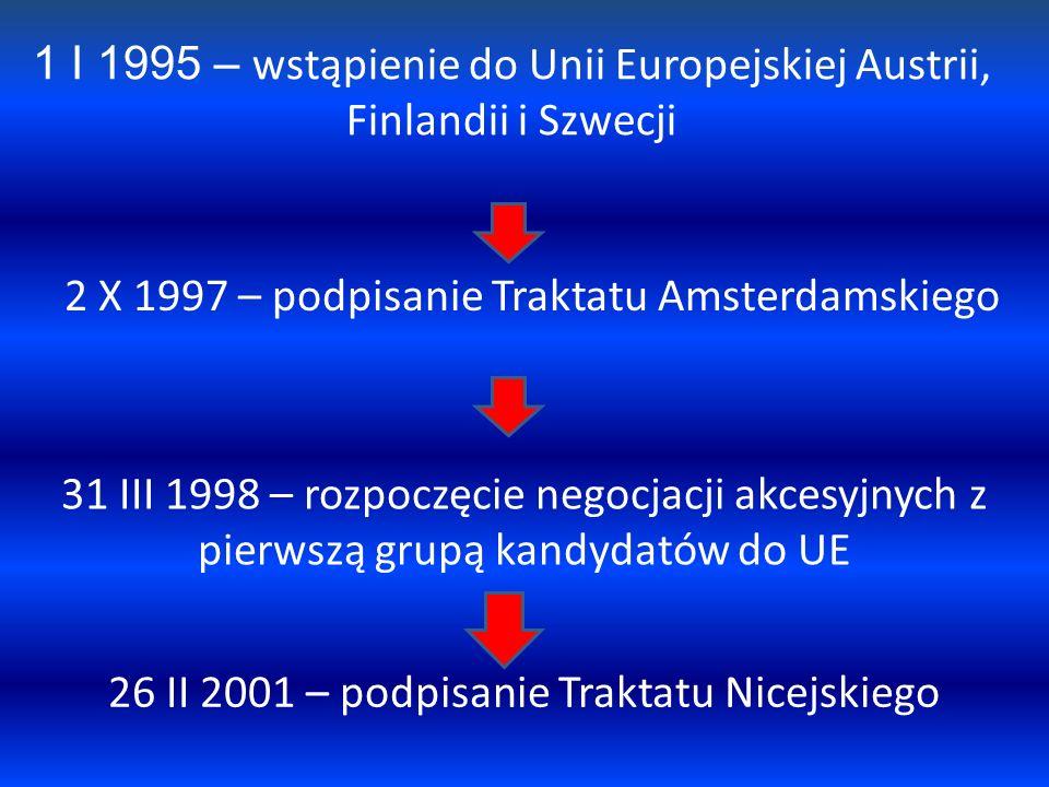 1 I 1995 – wstąpienie do Unii Europejskiej Austrii, Finlandii i Szwecji 2 X 1997 – podpisanie Traktatu Amsterdamskiego 31 III 1998 – rozpoczęcie negoc