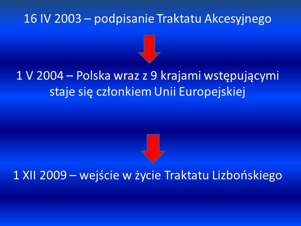 16 IV 2003 – podpisanie Traktatu Akcesyjnego 1 V 2004 – Polska wraz z 9 krajami wstępującymi staje się członkiem Unii Europejskiej 1 XII 2009 – wejści