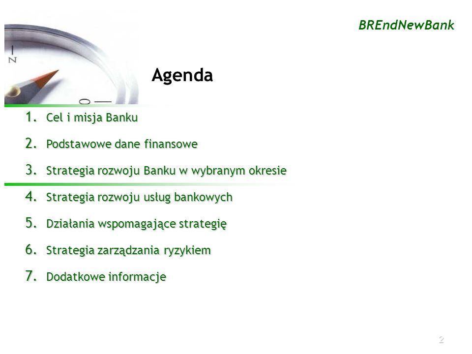 2 BREndNewBank Agenda 1. Cel i misja Banku 2. Podstawowe dane finansowe 3. Strategia rozwoju Banku w wybranym okresie 4. Strategia rozwoju usług banko