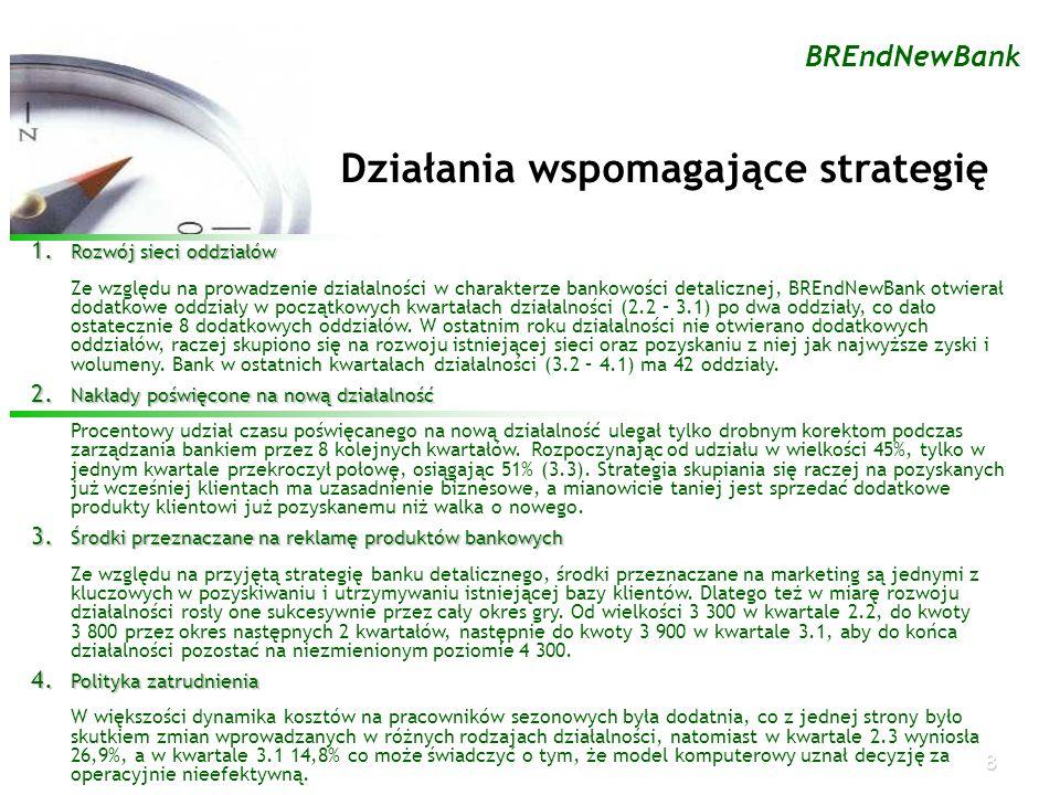 8 BREndNewBank Działania wspomagające strategię 1. Rozwój sieci oddziałów Ze względu na prowadzenie działalności w charakterze bankowości detalicznej,